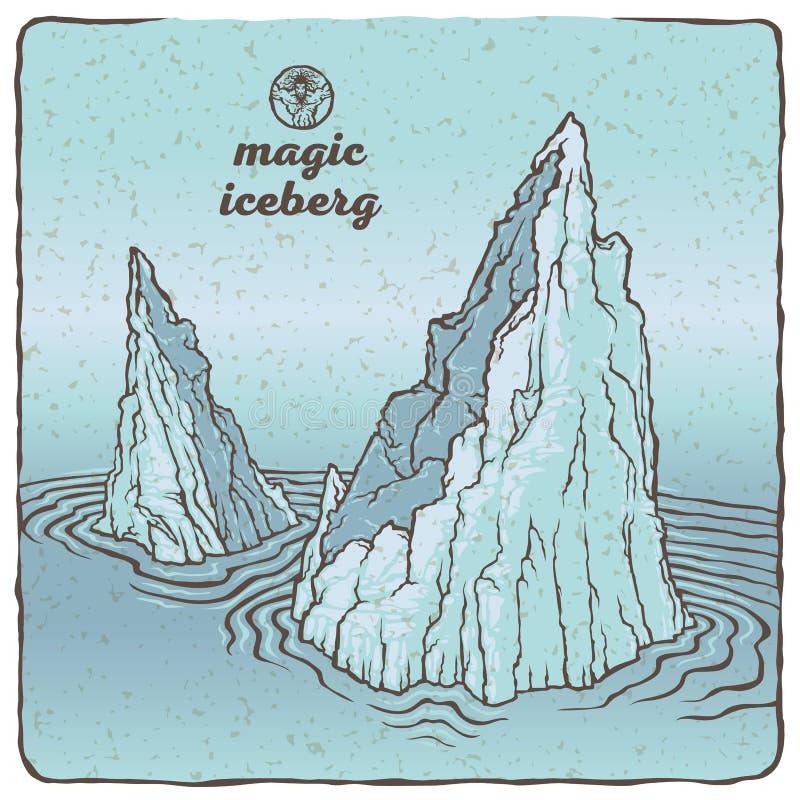 Kontur góra lodowa ilustracja wektor