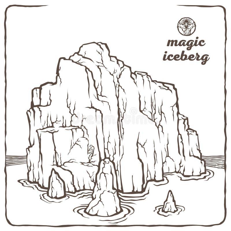 Kontur góra lodowa ilustracji