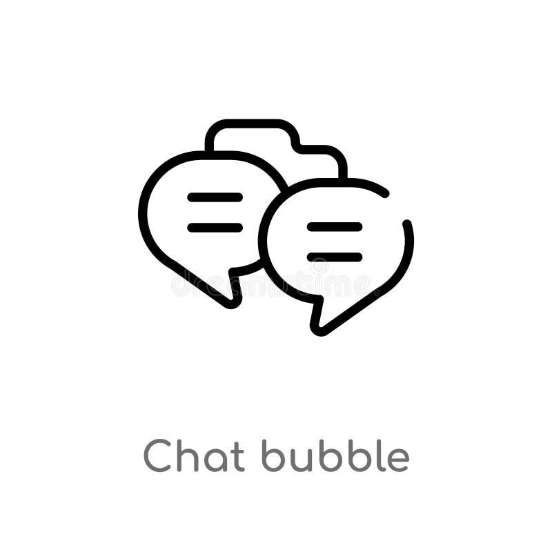 kontur gadki bąbla wektoru ikona odosobniona czarna prosta kreskowego elementu ilustracja od komunikacyjnego pojęcia Editable wek royalty ilustracja