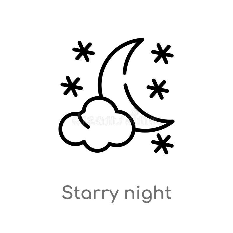 kontur gwiaździstej nocy wektoru ikona odosobniona czarna prosta kreskowego elementu ilustracja od pogodowego pojęcia Editable we royalty ilustracja