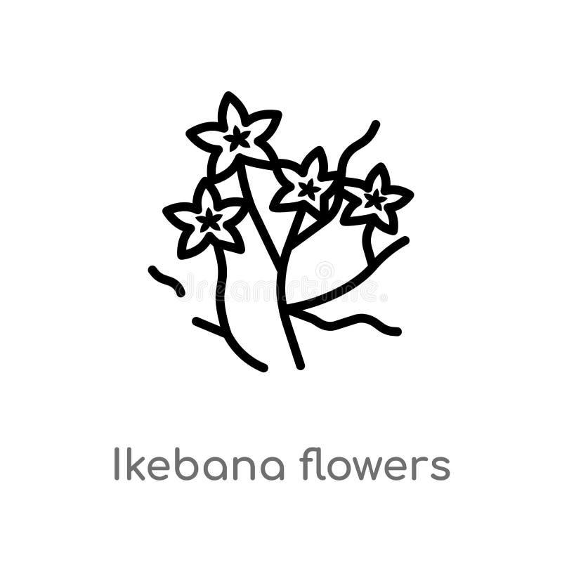 kontur ikeban kwiatów wektoru ikona odosobniona czarna prosta kreskowego elementu ilustracja od natury pojęcia Editable wektorowy royalty ilustracja