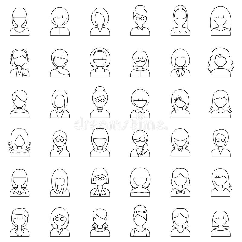 Kontur ikon ustaleni ludzie ilustracji