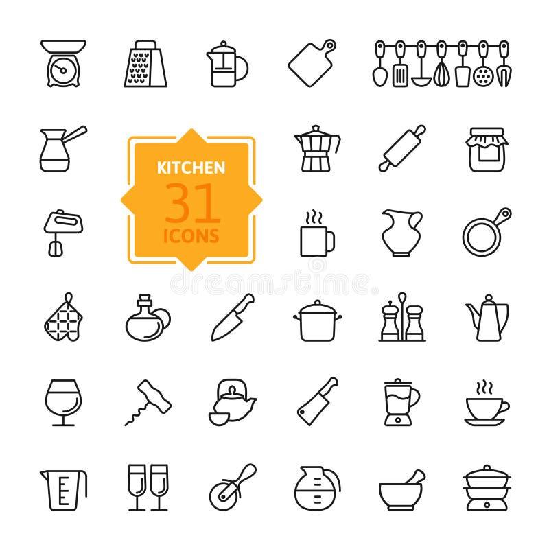 Kontur ikony kolekcja - gotować narzędzia i naczynia royalty ilustracja