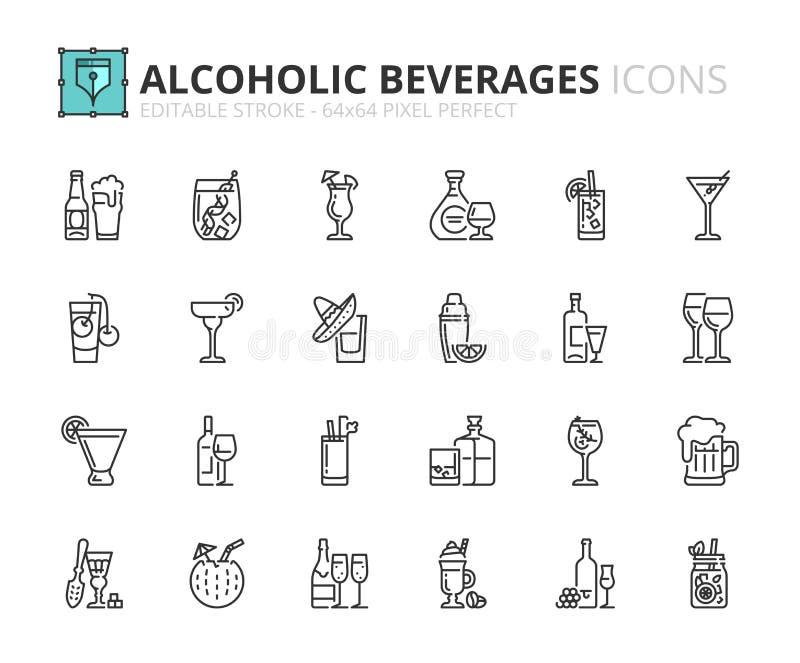 Kontur ikony o alkoholicznych napojach ilustracja wektor