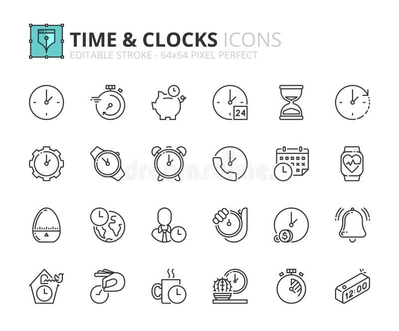 Kontur ikony o czasie i zegarach ilustracja wektor