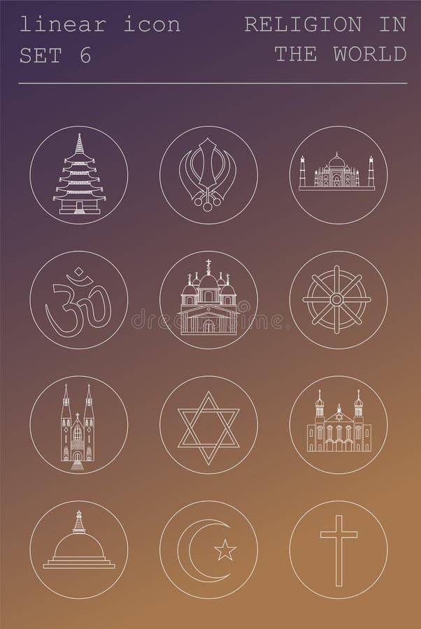 Kontur ikony ustalona religia w świacie Płaski liniowy projekt ilustracja wektor