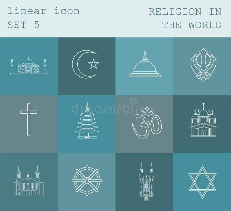 Kontur ikony ustalona religia w świacie Płaski liniowy projekt royalty ilustracja
