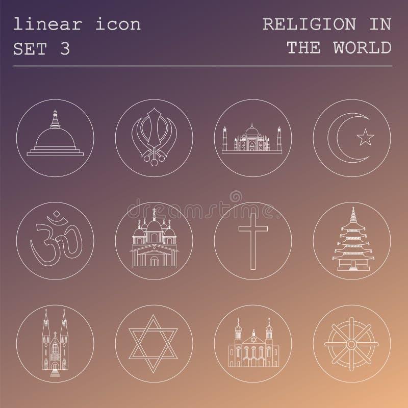 Kontur ikony ustalona religia w świacie Płaski liniowy projekt ilustracji