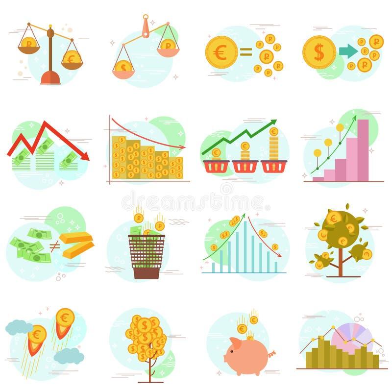 Kontur ikony ustawiać płaski projektów elementów finanse protestują Wektorowego piktograma projekta inkasowy pojęcie ilustracja wektor