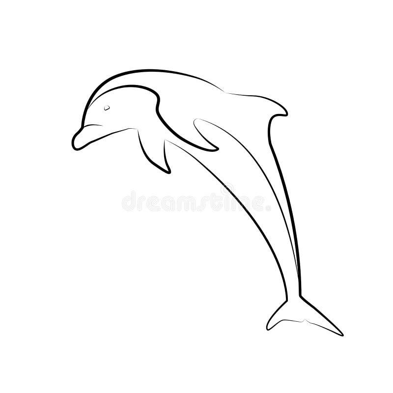 Kontur ilustracja skokowy delfin Kreskowa sztuka Przedmiot jest odzielnie od tła royalty ilustracja