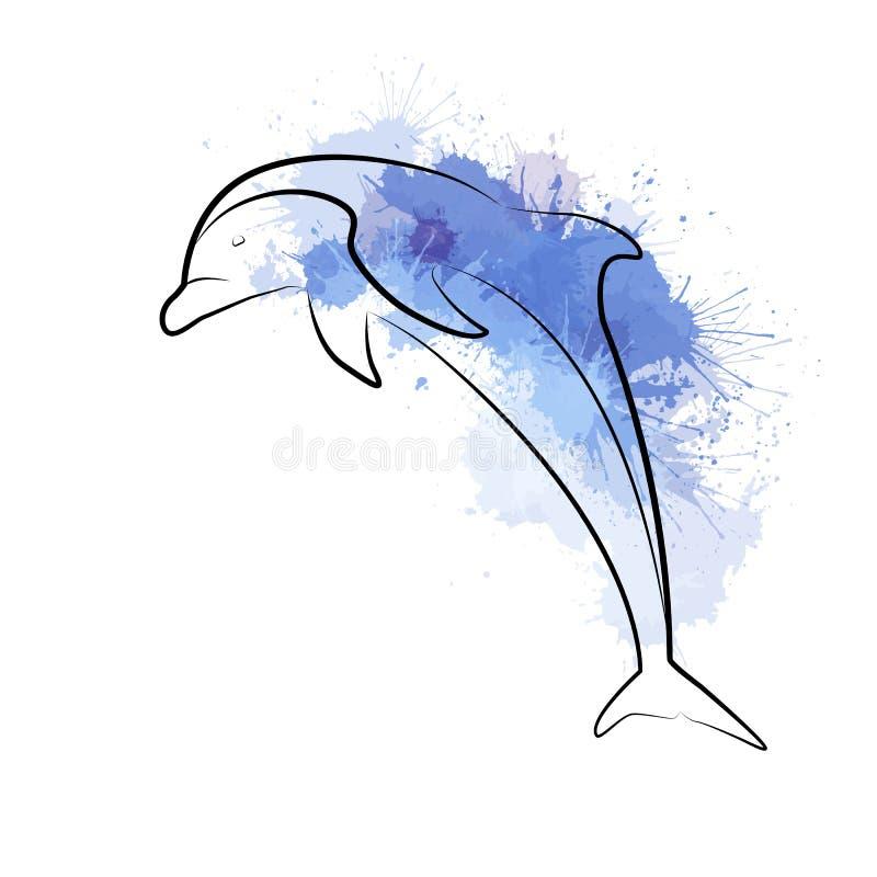 Kontur ilustracja skokowy delfin z akwarelą bryzga royalty ilustracja