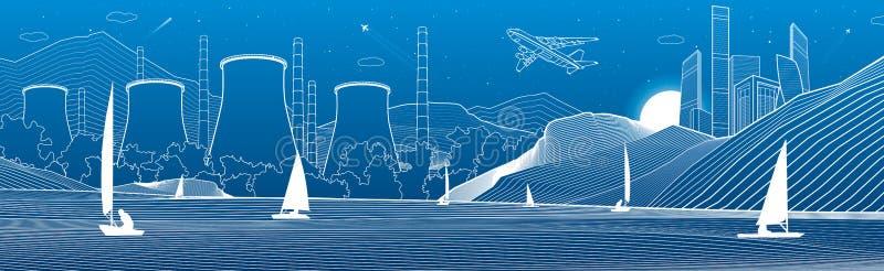 kontur ilustracja Widok od morza nocy miasto w górach Elektrownia na brzeg rzeki wodni jachty Bia?e linie na b??kitnym ilustracji