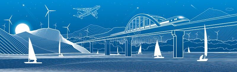 kontur ilustracja Widok od rzeki nocy miasto Wiatraczki w górach wodni jachty Pociąg podróżuje wzdłuż kolejowego mostu royalty ilustracja