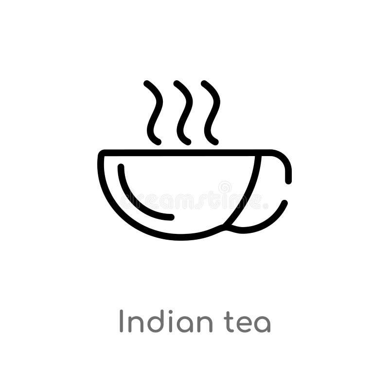 kontur indyjska herbaciana wektorowa ikona odosobniona czarna prosta kreskowego elementu ilustracja od indu poj?cia editable wekt ilustracja wektor
