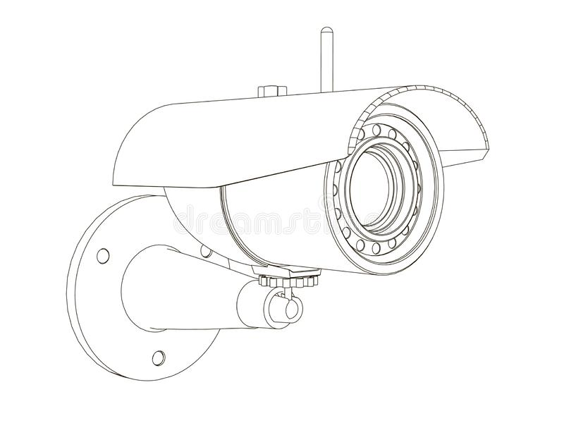 Kontur inwigilacji kamera CCTV ikona od czerni wykłada na białym tle Isometric widok r?wnie? zwr?ci? corel ilustracji wektora ilustracja wektor