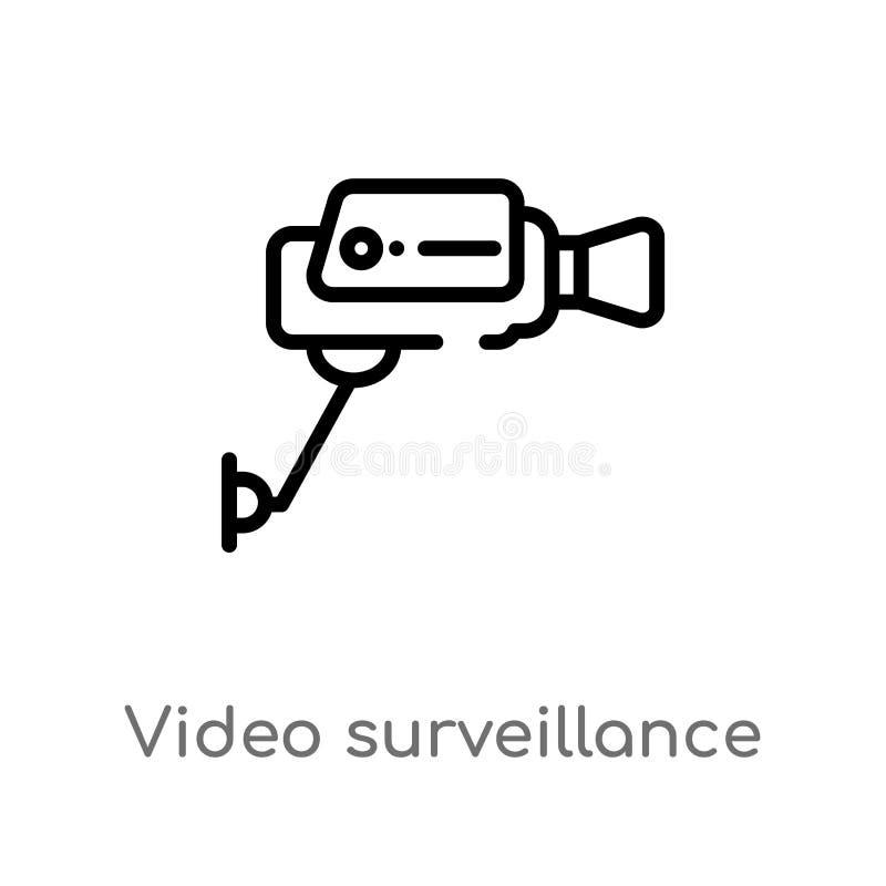 kontur inwigilacji wektoru wideo ikona odosobniona czarna prosta kreskowego elementu ilustracja od urządzenia elektronicznego poj ilustracja wektor