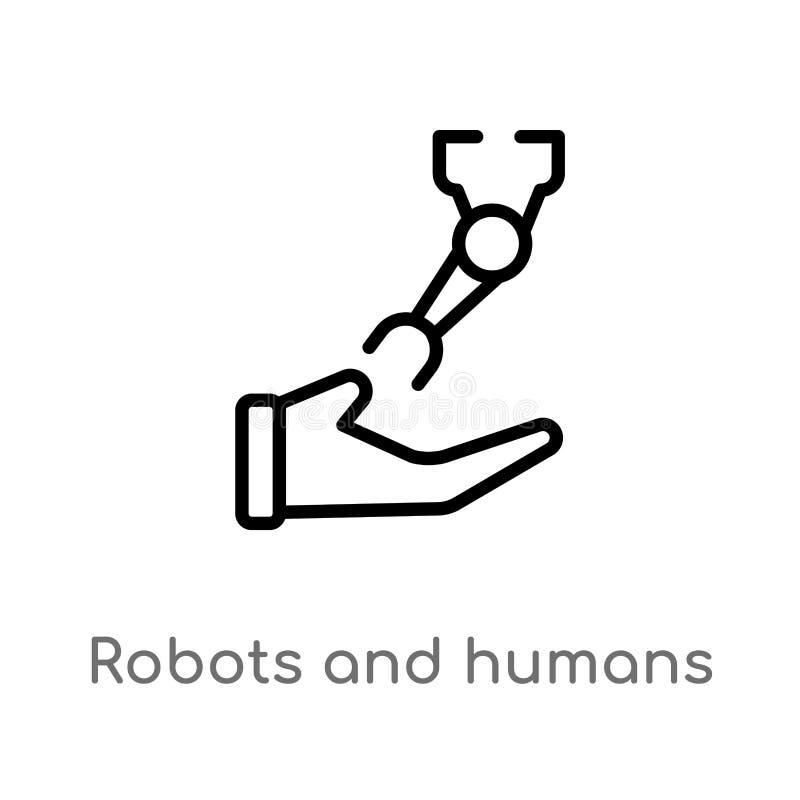 kontur istot ludzkich i robotów wektoru ikona odosobniona czarna prosta kreskowego elementu ilustracja od sztucznego intellegence ilustracji