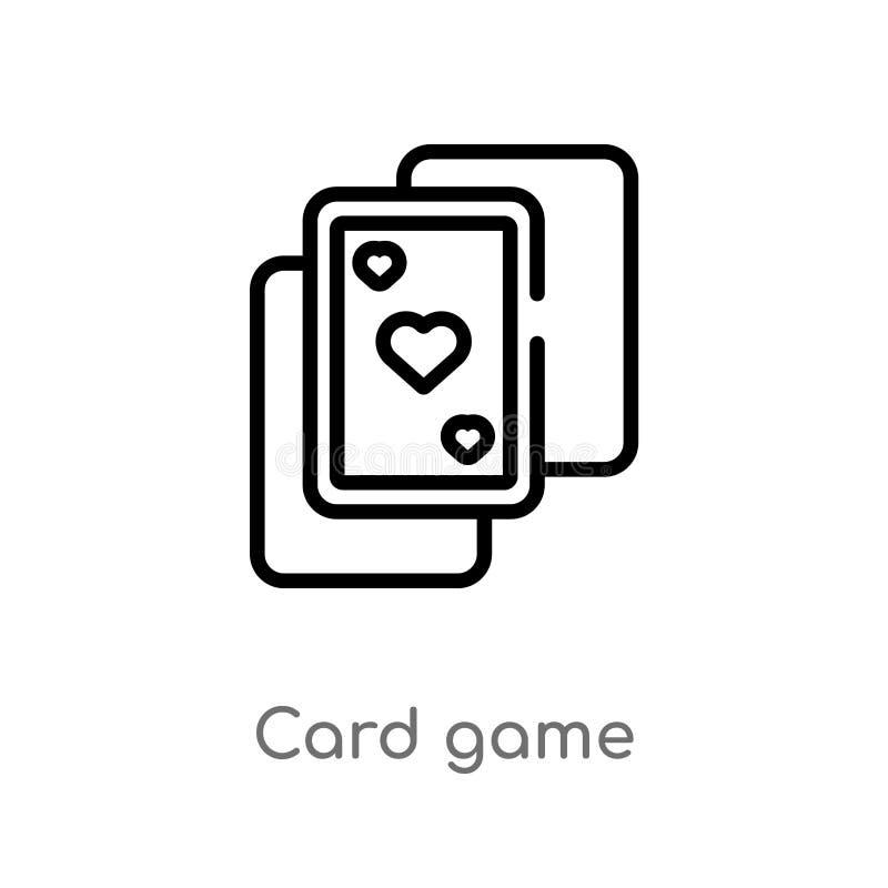 kontur karcianej gry wektoru ikona odosobniona czarna prosta kreskowego elementu ilustracja od rozrywki pojęcia Editable wektorow ilustracja wektor