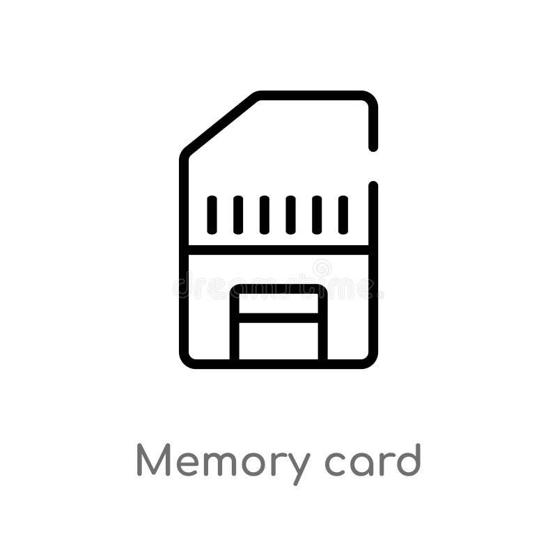 kontur karty pamięci wektoru ikona odosobniona czarna prosta kreskowego elementu ilustracja od elektronicznego materiał pełni poj ilustracji