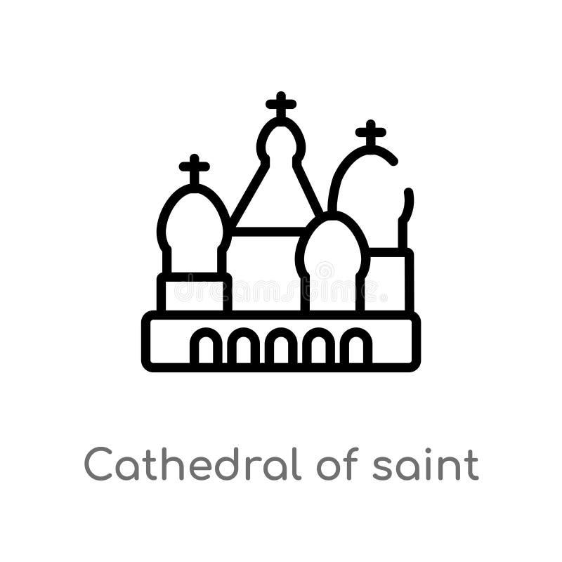 kontur katedra ?wi?tobliwa basila wektoru ikona odosobniona czarna prosta kreskowego elementu ilustracja od budynku poj?cia _ ilustracji