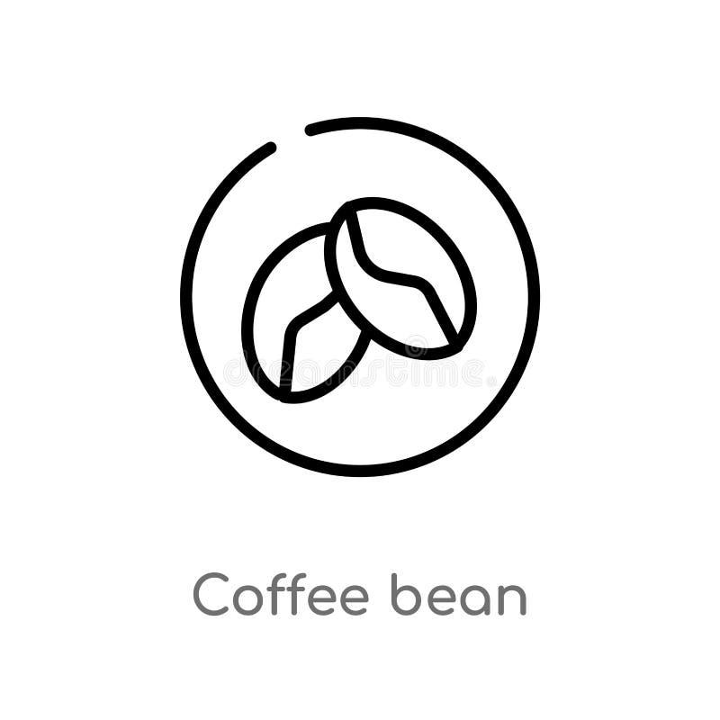 kontur kawowej fasoli wektoru ikona odosobniona czarna prosta kreskowego elementu ilustracja od napoju poj?cia Editable wektorowy ilustracja wektor