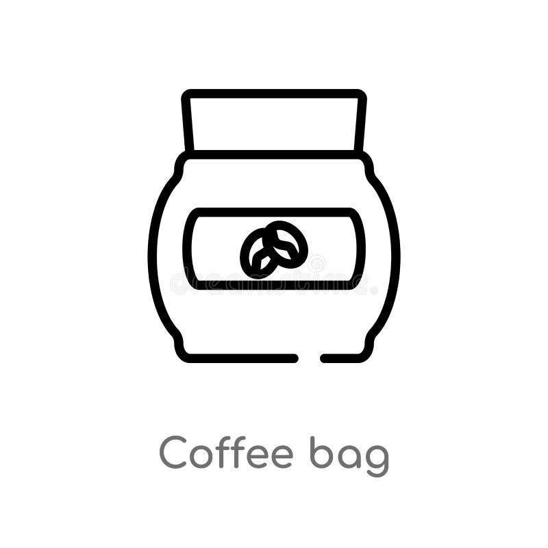 kontur kawowej torby wektoru ikona odosobniona czarna prosta kreskowego elementu ilustracja od napoju poj?cia editable wektorowa  ilustracji