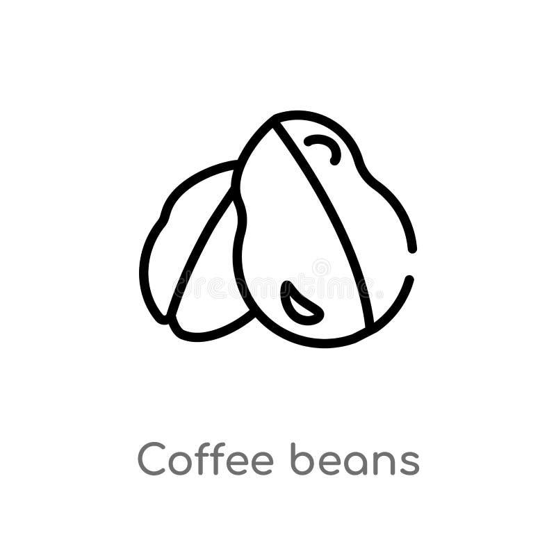 kontur kawowych fasoli wektoru ikona odosobniona czarna prosta kreskowego elementu ilustracja od brazilia pojęcia Editable wektor ilustracji