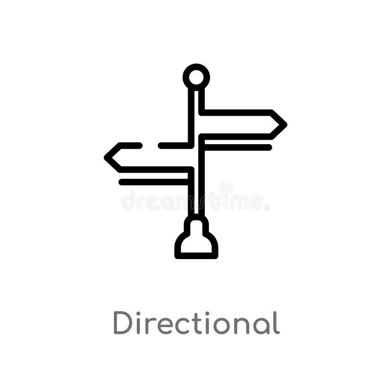 kontur kierunkowa wektorowa ikona odosobniona czarna prosta kreskowego elementu ilustracja od znaka poj?cia Editable wektorowy ud ilustracji