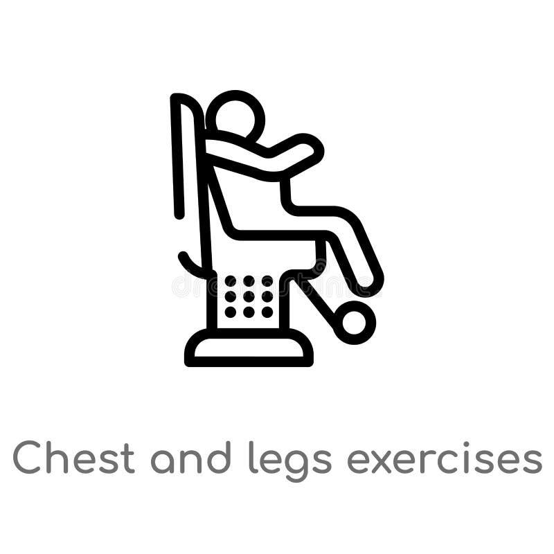 kontur klatka piersiowa i n?g ?wicze? wektoru ikona odosobniona czarna prosta kreskowego elementu ilustracja od gym i sprawno?ci  royalty ilustracja