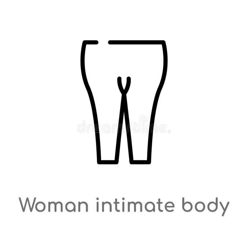 kontur kobiety części ciałej wektoru intymna ikona odosobniona czarna prosta kreskowego elementu ilustracja od medycznego poj?cia royalty ilustracja