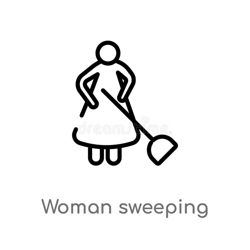 kontur kobiety og?lna wektorowa ikona odosobniona czarna prosta kreskowego elementu ilustracja od istoty ludzkiej poj?cia Editabl ilustracja wektor