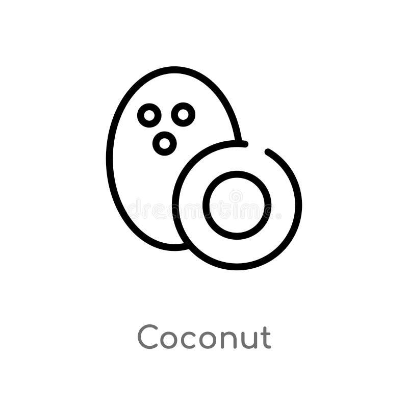 kontur kokosowa wektorowa ikona odosobniona czarna prosta kreskowego elementu ilustracja od owoc poj?cia editable wektorowy uderz ilustracja wektor