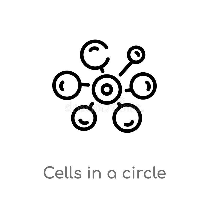 kontur komórki w okręgu wektoru ikonie odosobniona czarna prosta kreskowego elementu ilustracja od medycznego poj?cia Editable we ilustracji