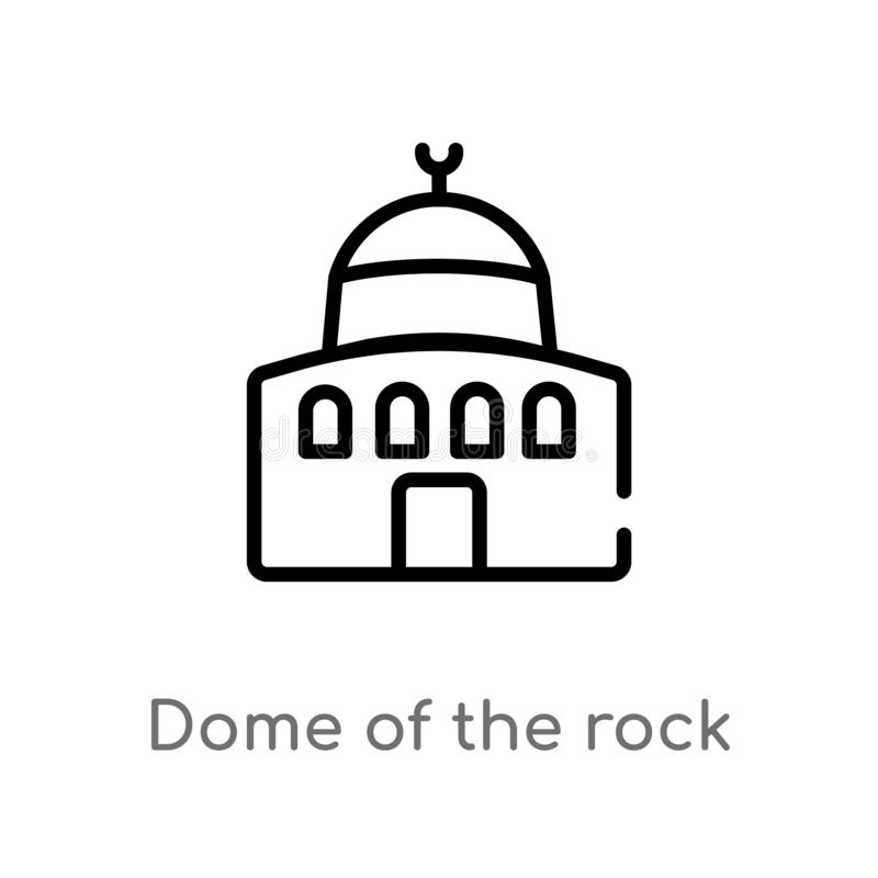 kontur kopuła rockowa wektorowa ikona odosobniona czarna prosta kreskowego elementu ilustracja od zabytku pojęcia Editable wektor ilustracji