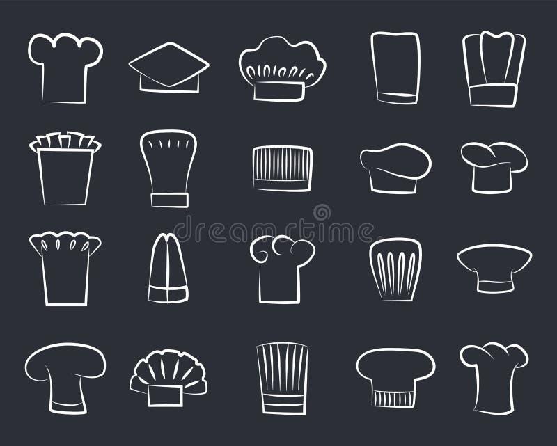Kontur Kreśli szefów kuchni kapelusze, set Biały szefa kuchni kapelusz royalty ilustracja