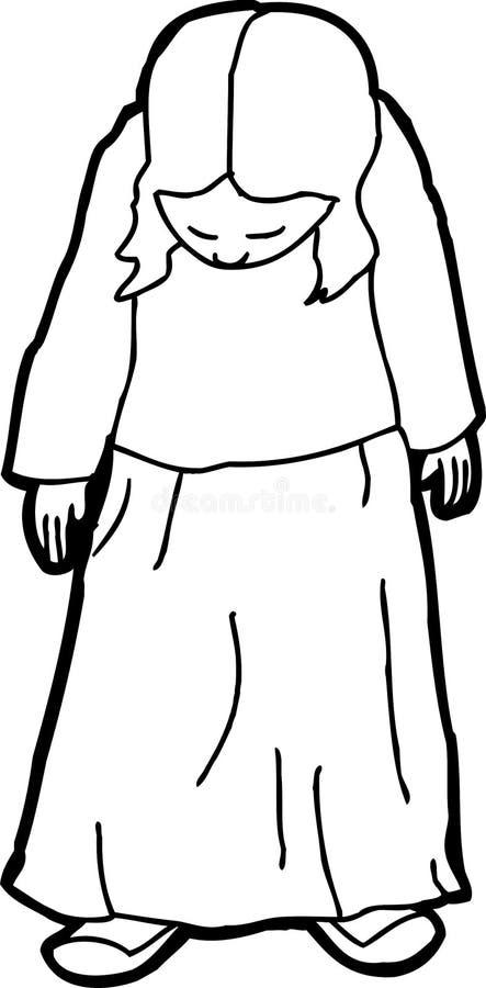 Kontur kreskówka Przyglądający Cofa się ilustracja wektor