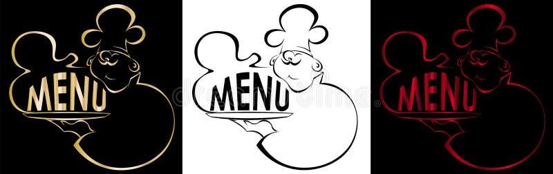 Kontur kucharz z naczynie menu logem royalty ilustracja