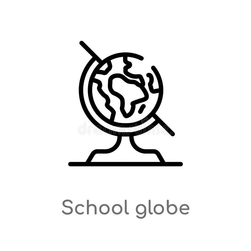 kontur kuli ziemskiej wektoru szkolna ikona odosobniona czarna prosta kreskowego elementu ilustracja od edukacji pojęcia Editable ilustracja wektor