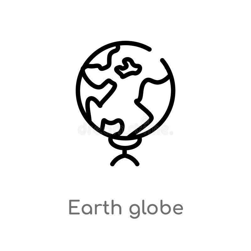 kontur kuli ziemskiej wektoru ziemska ikona odosobniona czarna prosta kreskowego elementu ilustracja od edukacji 2 poj?cia Editab ilustracja wektor
