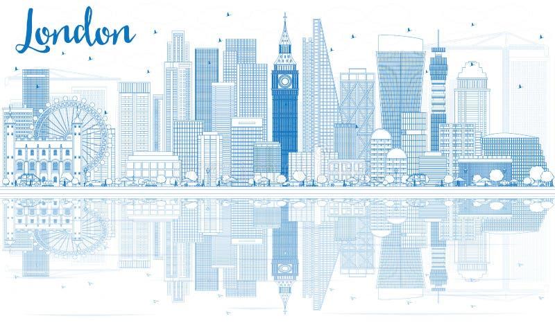 Kontur Londyńska linia horyzontu z Błękitnymi odbiciami i budynkami ilustracja wektor