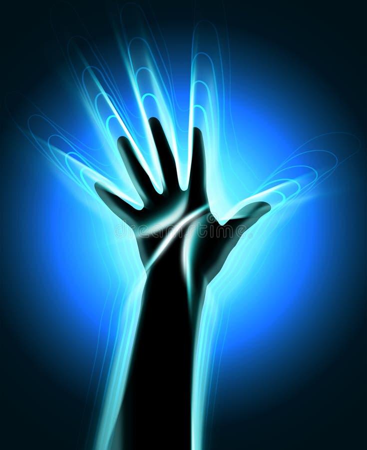 Kontur ludzka ręka z jarzyć się macha opuszczać je royalty ilustracja