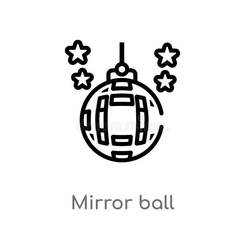 kontur lustrzana balowa wektorowa ikona odosobniona czarna prosta kreskowego elementu ilustracja od discotheque poj?cia Editable  ilustracja wektor