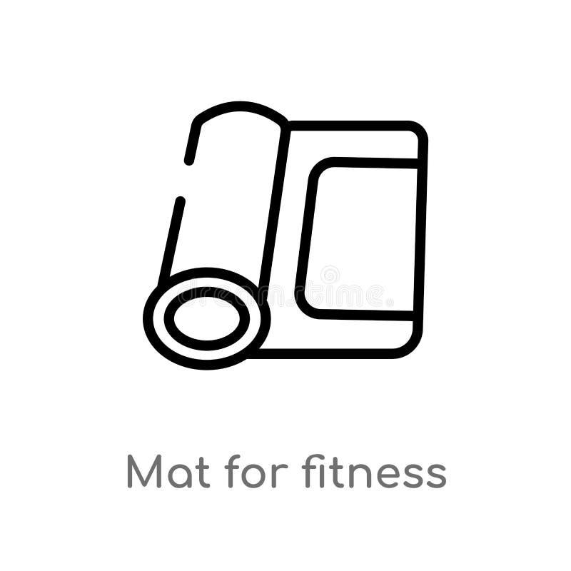 kontur mata dla sprawno?? fizyczna wektoru ikony odosobniona czarna prosta kreskowego elementu ilustracja od gym i sprawno?ci fiz ilustracja wektor