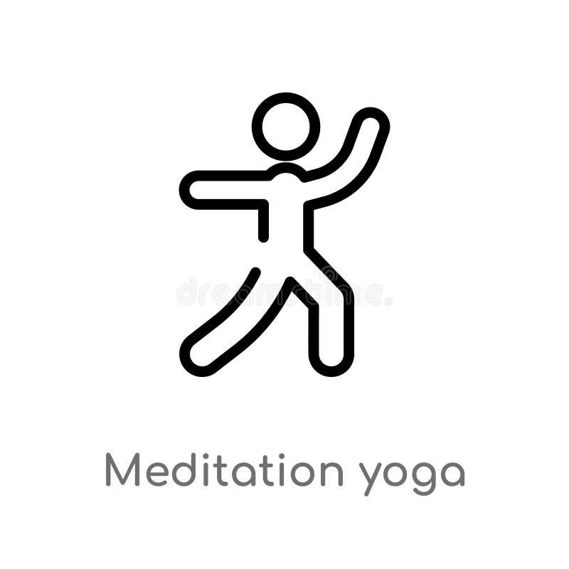 kontur medytacji joga postury wektoru ikona odosobniona czarna prosta kreskowego elementu ilustracja od sporta poj?cia Editable w royalty ilustracja