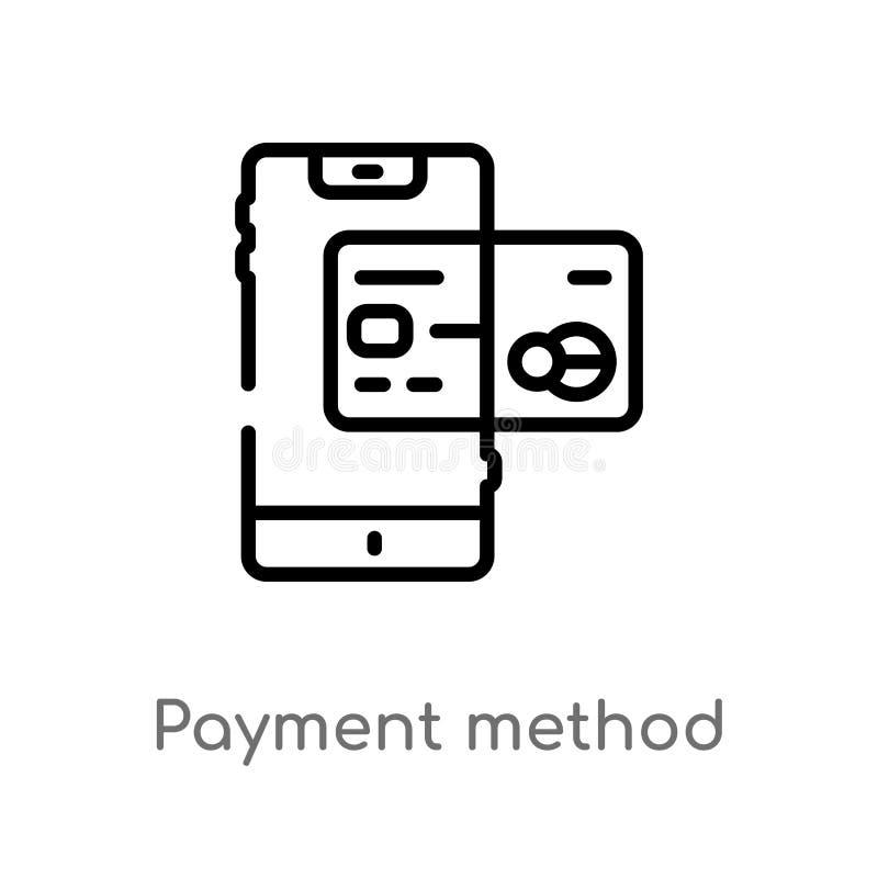 kontur metody wektoru płatnicza ikona odosobniona czarna prosta kreskowego elementu ilustracja od cyfrowego gospodarki pojęcia Ed ilustracja wektor