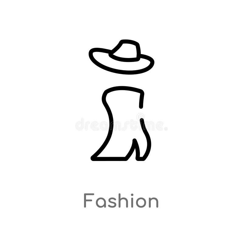 kontur mody wektoru ikona odosobniona czarna prosta kreskowego elementu ilustracja od blogger i influencer pojęcia Editable wekto royalty ilustracja