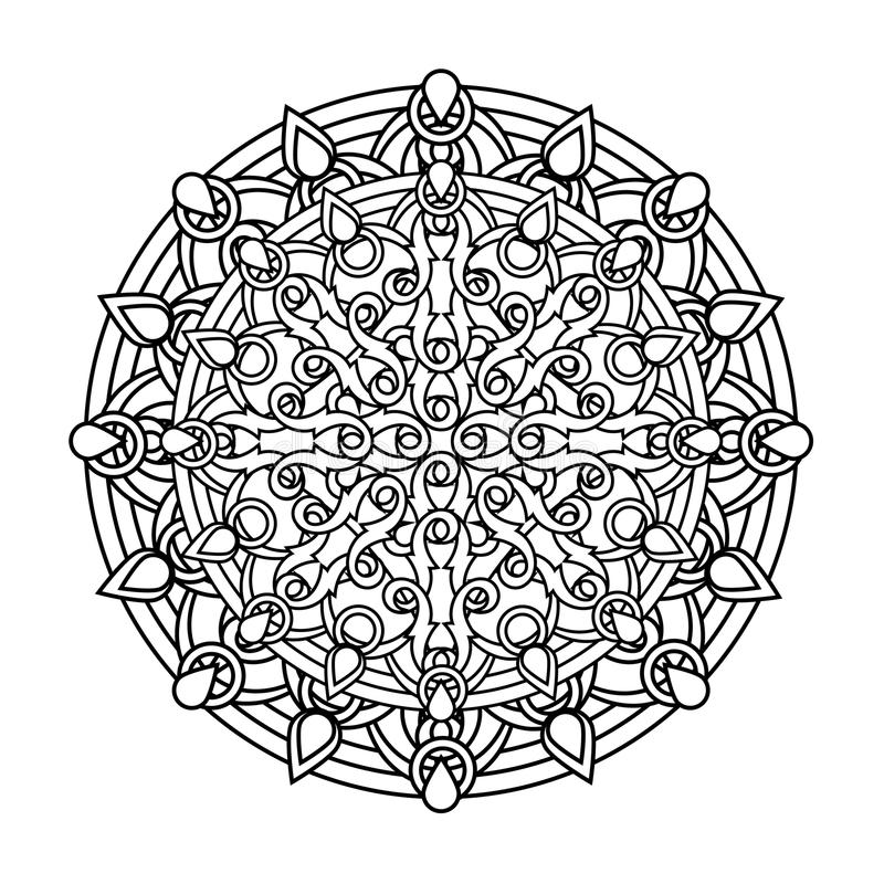 Kontur monokrom Mandala person som tillhör en etnisk minoritet religiös designbeståndsdel royaltyfri illustrationer