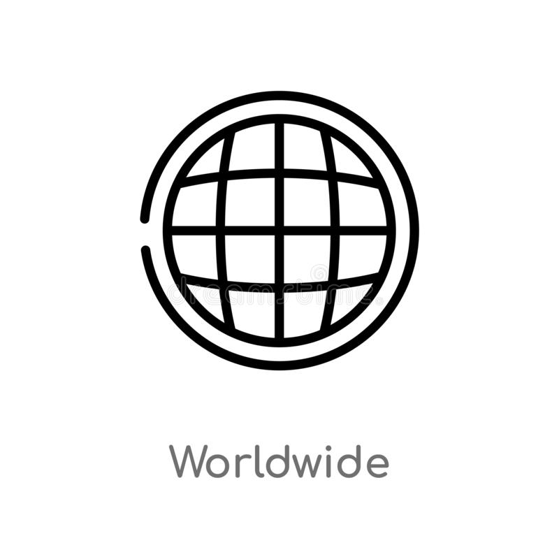 kontur na całym świecie wektorowa ikona odosobniona czarna prosta kreskowego elementu ilustracja od doręczeniowego i logistycznie ilustracji