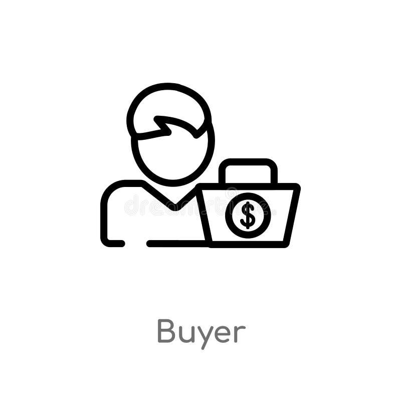 kontur nabywcy wektoru ikona odosobniona czarna prosta kreskowego elementu ilustracja od p?atniczego metody poj?cia Editable wekt ilustracji