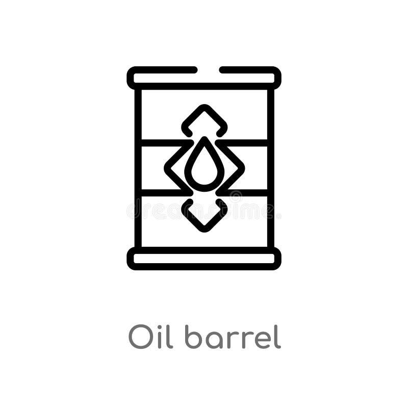 kontur nafcianej baryłki wektoru ikona odosobniona czarna prosta kreskowego elementu ilustracja od przemysłu pojęcia editable wek royalty ilustracja